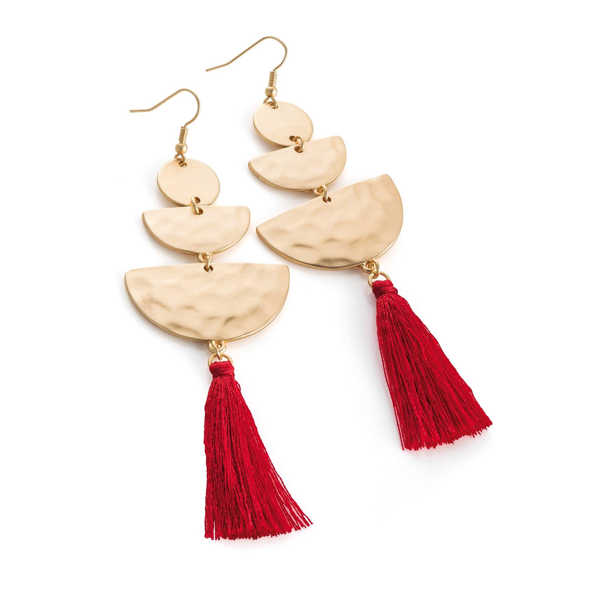 ae0a0ed36f7a8e Matt Gold Red Tassel Earrings - Shimmer And Shine Jewellery